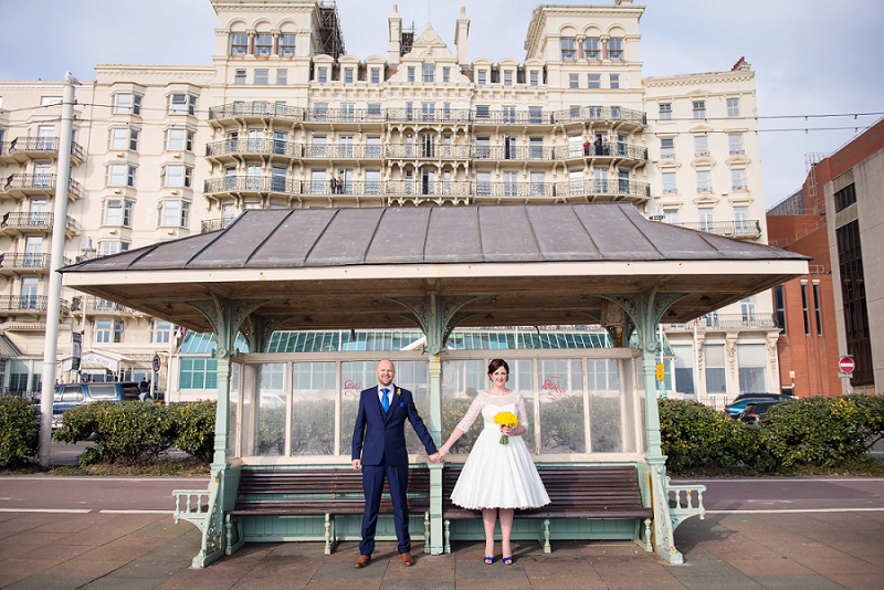 quirky brighton wedding, quirky seaside wedding